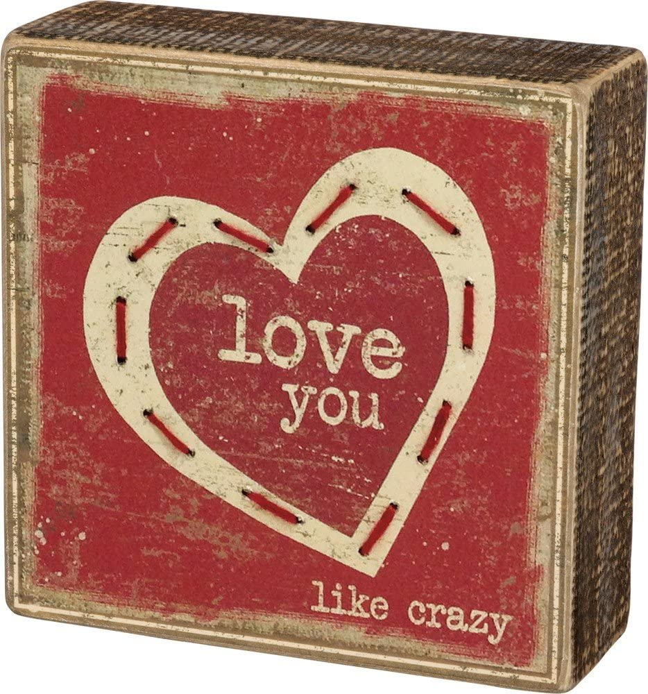 Primitives by Kathy Stitched Rustic Inspired Box Sign, 5 x 5-Inches, Love You Like Crazy