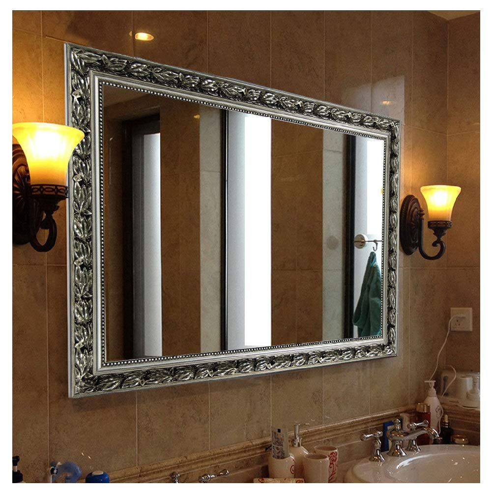 "Rectangular Wall Mounted Mirror (38""x26"", Silver)"