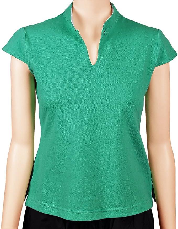 Sinologie - Polo - Cuello Mao - Mujer Verde XL: Amazon.es: Ropa y ...