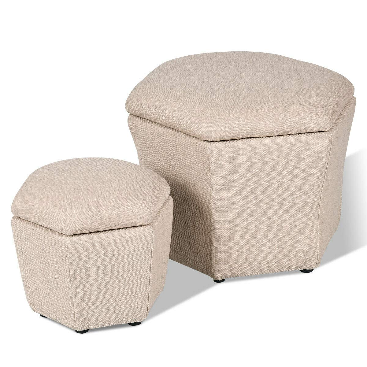 Giantex Set of 2 Storage Ottoman Box Foot Rest Stool Seat Bench Organizer