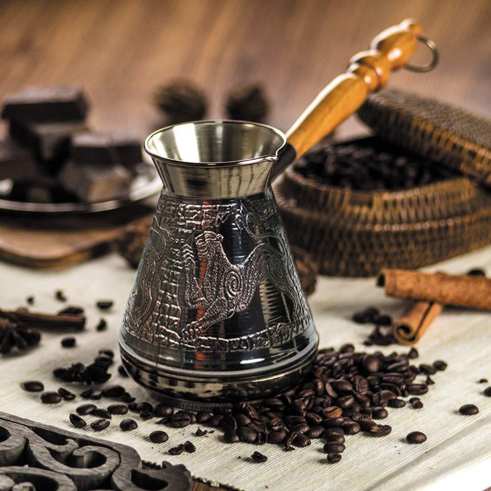 Copper Turkish Greek Coffee Pot Leopard Ibrik, Briki, Cezve, Turka With Wooden Handle - 600 ml
