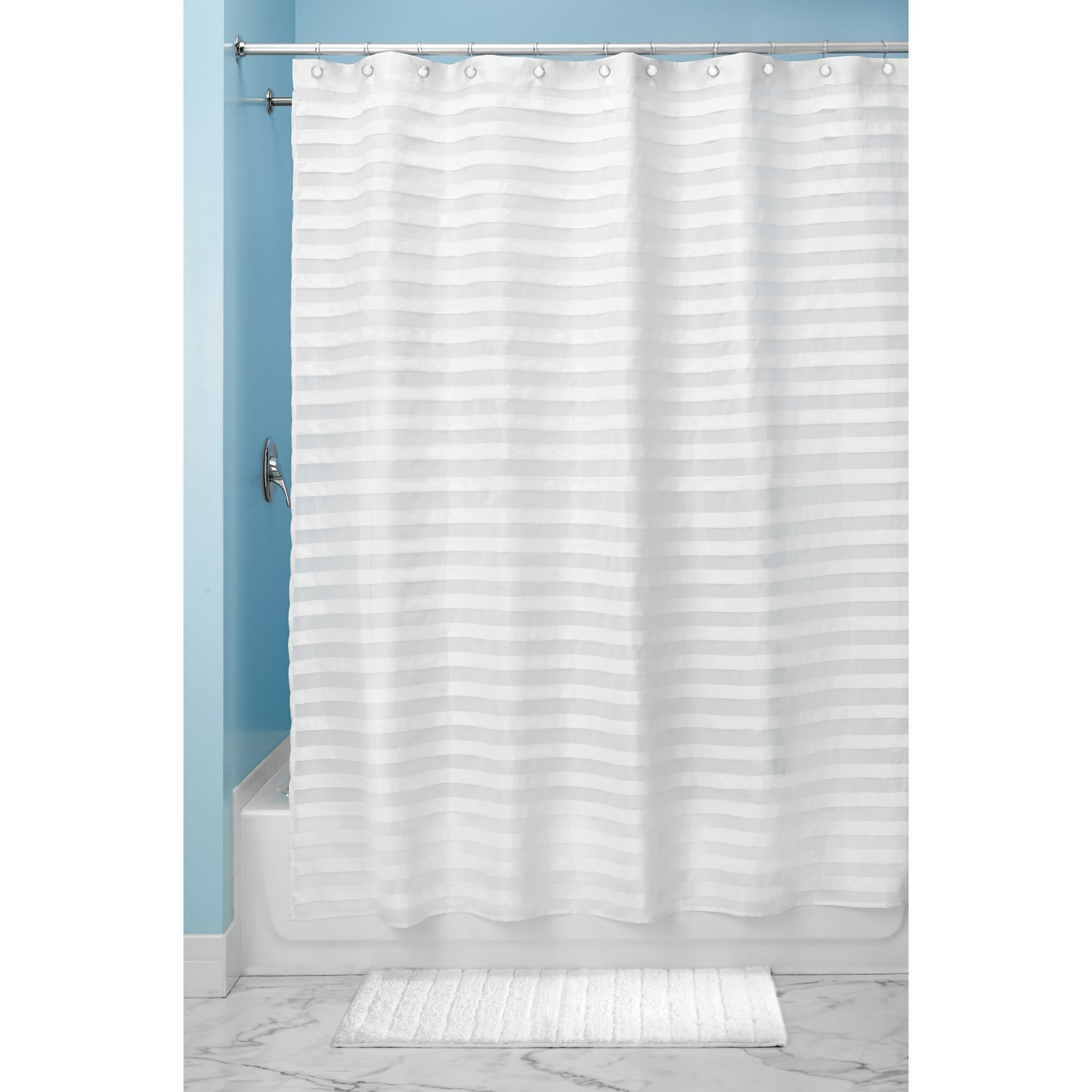 InterDesign Tuxedo Extra Long Fabric Polyester Shower Curtain, 72'' X 96'' - Pack of 2, White
