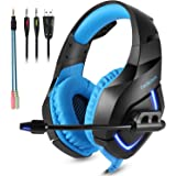 Gaming Headset for PS4 - Stereo PC Gaming Headset with LED Light, USB Headset Bass Over-ear Gaming headphones, Lightweight Headset with Microphone for PS4, PC, Xbox One, Wii U, Laptop (Black & Blue)