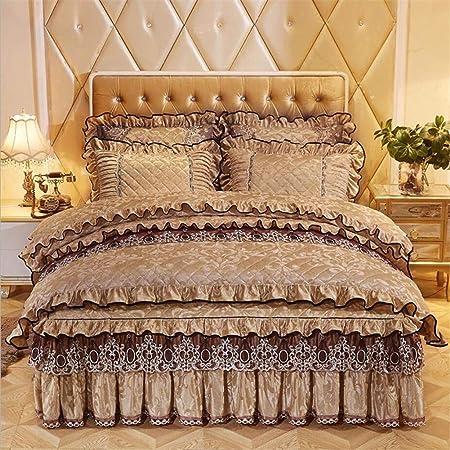 2af103989d Bedding Set Velvet Cover Sets with Bed Skirt Princess Bedding Set Vintage  Floral Print Duvet Cover 4 Piece,Camel,Queen(180cmx220cm) [Energy Class A]