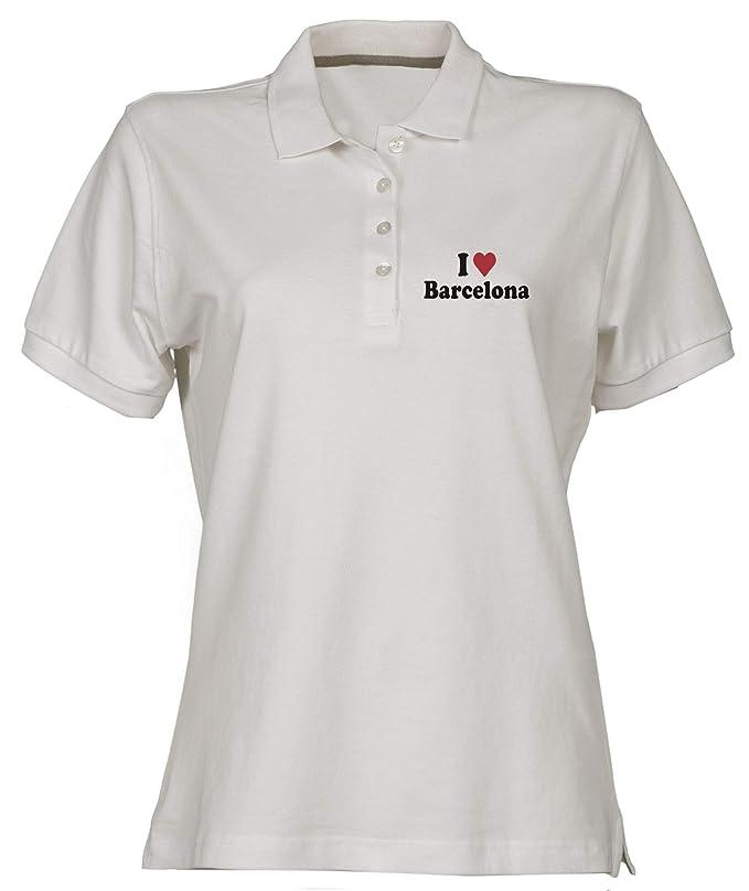 Polo para Mujer Blanco WC0408 I Love Heart Barcelona: Amazon.es ...