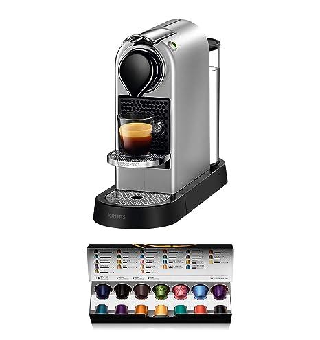 Nespresso Krups Citiz XN761B - Cafetera monodosis de cápsulas Nespresso, compacta, 19 bares, apagado automático, color plata