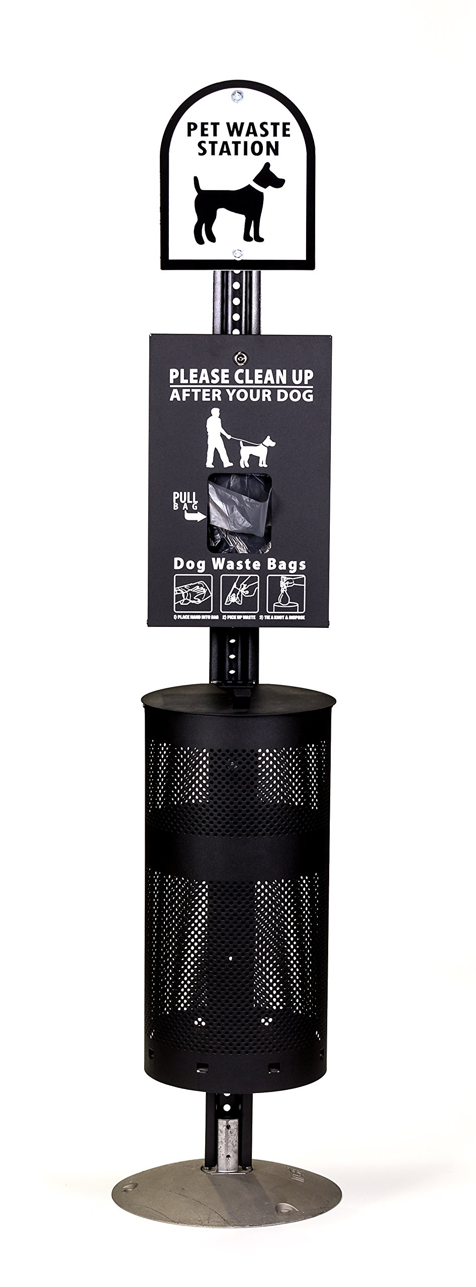 Dog Waste Station - Everything Included - FREE 400 waste bags and 50 can liners
