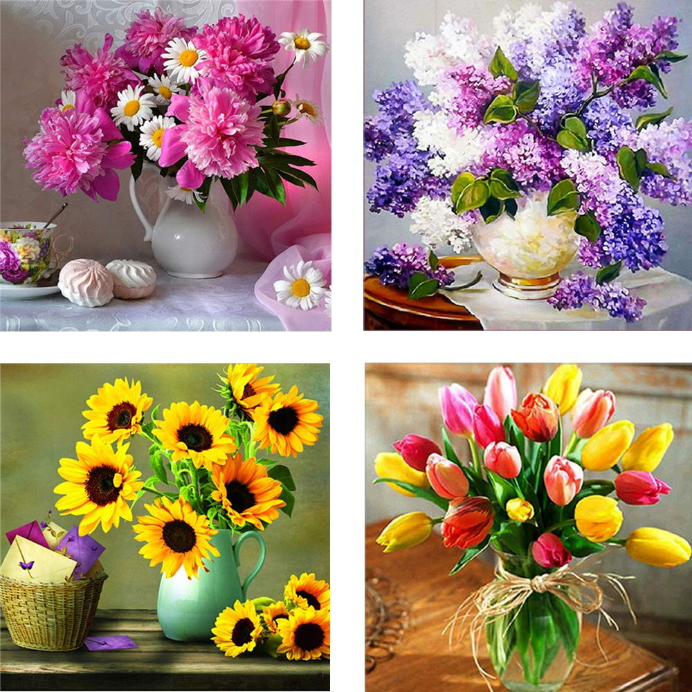 Large 16X16inch 5D 4 Pack Full Drill Diamond Art Painting Dotz Art Supplies DIY Kits for Adults Kids Flower Floral Wall Decor by SIIYIX