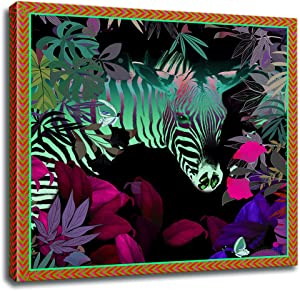 Animals Canvas Wall Art for Bedroom Bathroom, Zebra in The Jungle Canvas Prints with Wooden Frame, Animal Pattern Wall Decor for Living Room Home Office Modern Artwork, Easy Hanging on, 16x16 inches