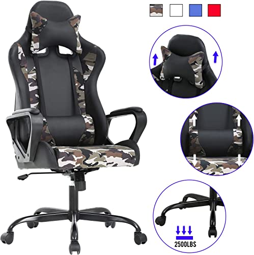 Computer Gaming Chair PC Ergonomic Office Chair Home Executive Desk Chair Adjustable High-Back PU Leather Racing Chair Rolling Swivel Modern Task Chair with Lumbar Support Headrest Armrest Camo