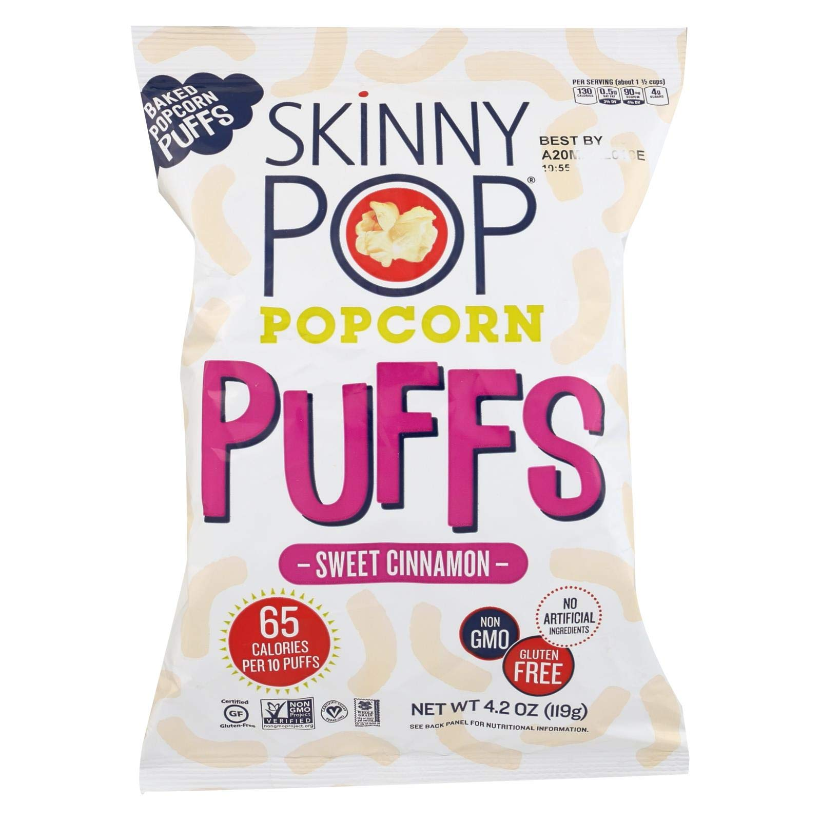 SKINNYPOP POPCORN, PCORN, PUFFS, SWT CINNAMON, Pack of 12, Size 4.2 OZ - No Artificial Ingredients Gluten Free GMO Free Kosher Contains Refined Sugar Vegan