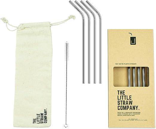 3pc Premium Stainless Steel Metal Blue Reusable Straw Brush /& Eco Travel Bag Set