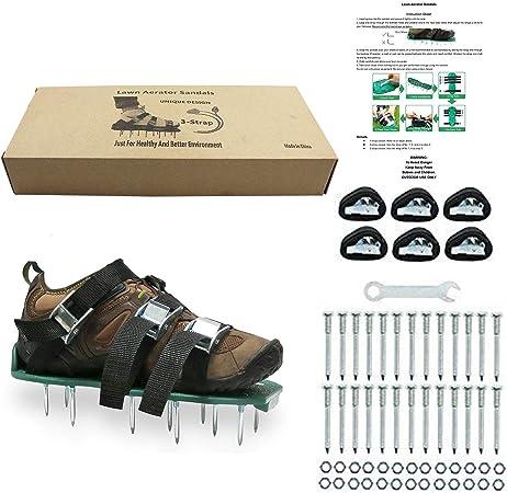 Chaussures da/ération de gazon pour Sandales /à pointes r/ésistantes Boucles en m/étal et 3/Sangles pour a/érer votre pelouse ou jardin Green