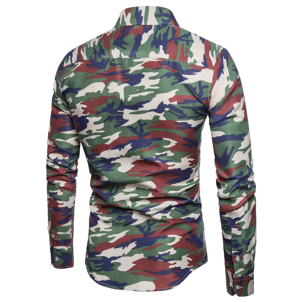 WM /& MW Fashion Mens Blouse Casual Slim Fit Shirt Long Sleeve Camouflage Print Button Shirt Lapel Tops