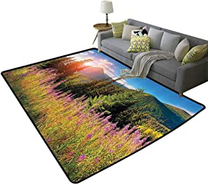 Apartment Decor Non-Slip Rug Fall Season Landscape Picture in Mountains with Flowers Alpine Trees Forest at Sunrise Daily use Green Pink, 6'x 8'(180x240cm)