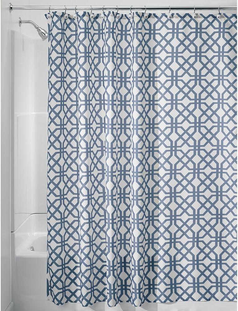 iDesign Trellis Fabric Shower Curtain, Long Polyester Shower Screen with Trellis Pattern Design, Blue
