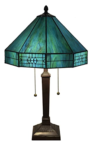 Whse of Tiffany T14M113 THRUG Maeve Tiffany-Style 2-Light Table Lamp, Turquoise