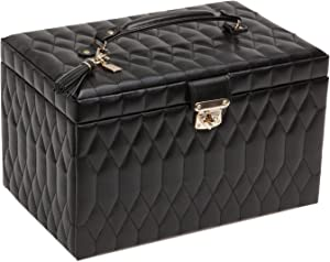 WOLF Caroline Large Jewelry Case, 8.5x13x8.25, Black