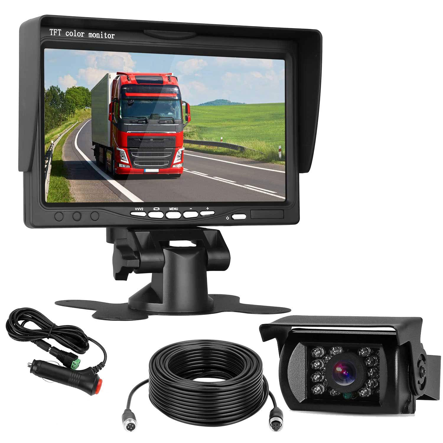 ZSMJ Backup Camera and Monitor Kit Reverse Camera Single Power for Rear View Full-time View Options Parking Assistance System Wired Waterproof for Truck