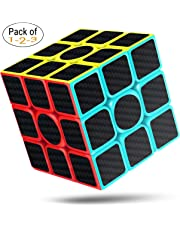 cfmour Rubiks cube Speed Cube 3x3,rubix cube,speed rubiks cube Carbon Fiber Sticker Smooth Magic Cube,Enhanced Version, 5.7cm Black