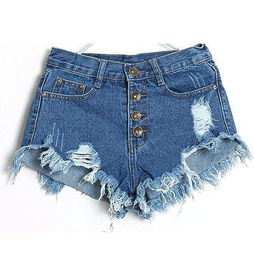 e2eddafac3 Amazon.com: Women Vintage High Waist Mini Short Pants Frayed Raw Hem Ripped  Distressed Denim Shorts: Clothing