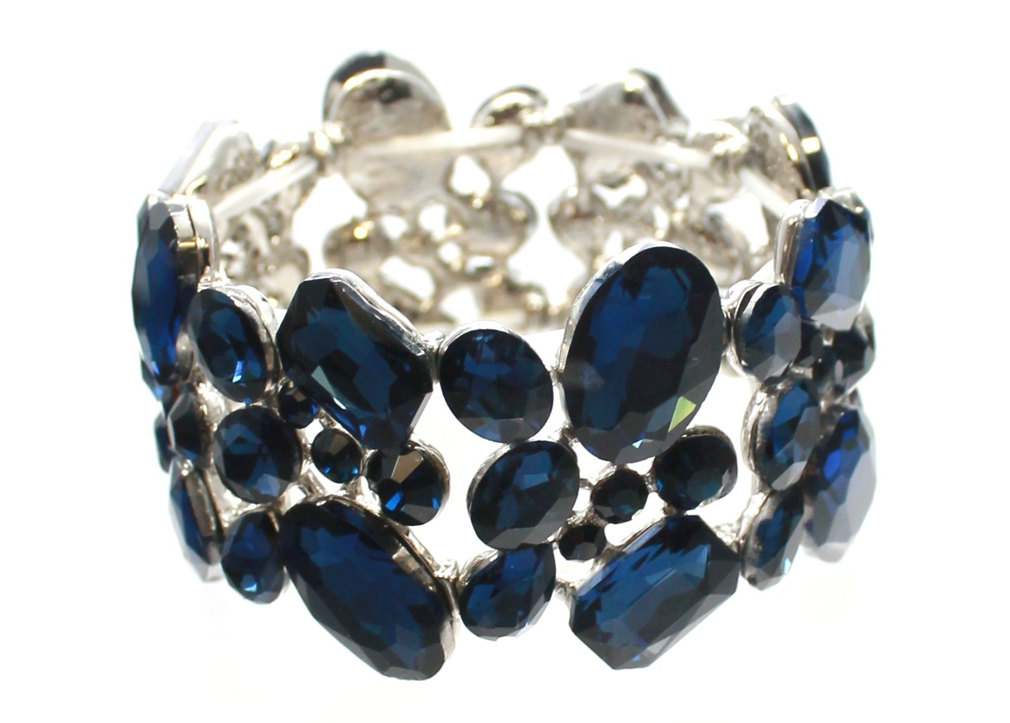 Carole Fay Jewelry Superb Navy on Silver Stretch Bracelet, fits almost every wrist! Perfect for both Prom and Pageant, as well as any Special Occasion!