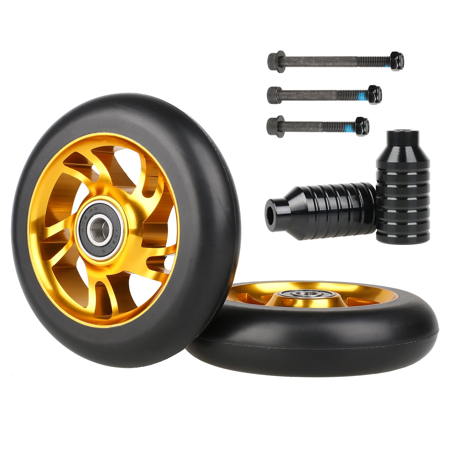 Kutrick 2pcs 110mm Pro Stunt Scooter Replacement Wheels with ABEC-11 Bearing