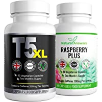 T5 XL Fat Burner & Raspberry Ketone | Weight Management Combo| Ultimate Max Strength | 60 Vegetarian Capsules Per Bottle | Strong T5 Diet Pills Weight Loss | UK Manufactured | Trusted Brand
