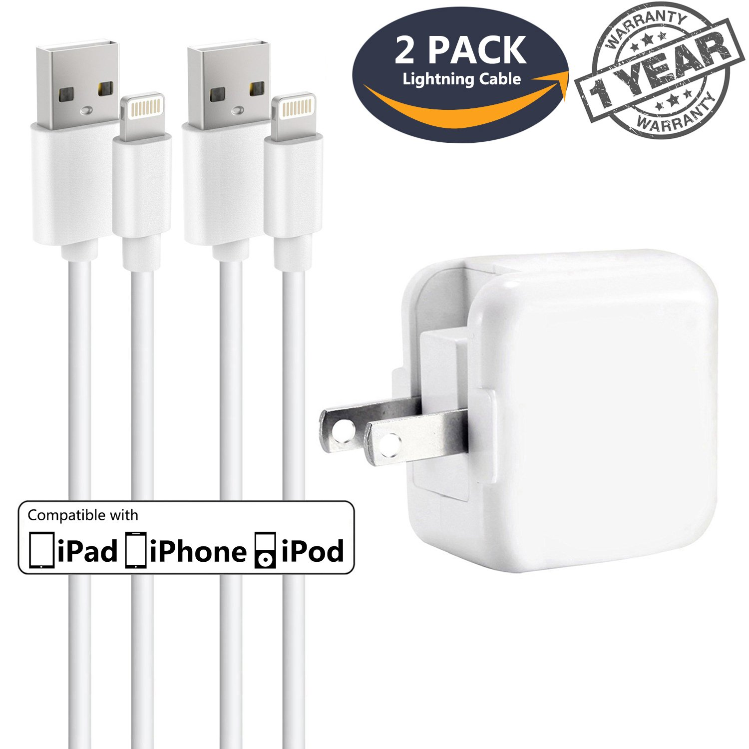 iPhone Charger iPad Charger,Panmy 2.4A 12W USB Wall Charger Foldable Portable Travel Plug and 2 Pack 8-Pin Charging Cable Compatible iPhone X/8Plus/7Plus/6sPlus/6Plus/8/7/6/6s/SE/5s/5, iPad 4/Mini/Pro