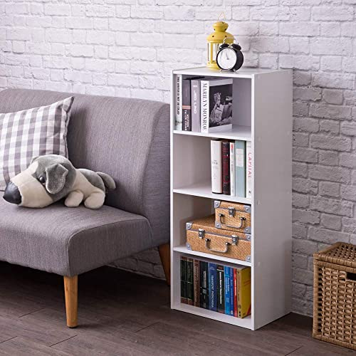 Frama Heavy Duty DIY 4-Shelf Storage Bookcase Premium Laminated Ultra Thick Particle Board Stackable Organizer, White