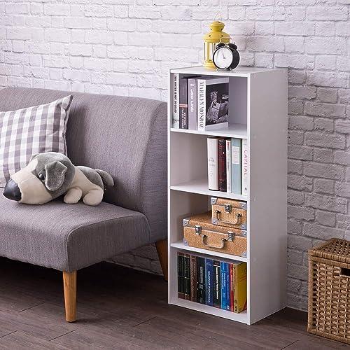Frama Heavy Duty DIY 4-Shelf Storage Bookcase Premium Laminated Ultra Thick Particle Board Stackable Organizer