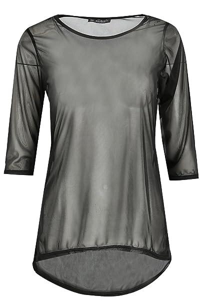 Oops Outlet Mujer Cuello Redondo Hilo Camiseta Dobladillo Curvado Mujer Transparente Vestido Top Tallas Grandes 8