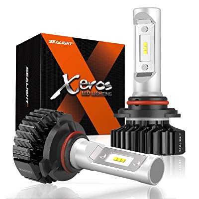 SEALIGHT 9005 LED Headlight Bulb, HB3 LED Bulb, High Beam, Fog Light, Compact Fanless Design, 6500 Lumens, 6000K Cool White, 12 CSP Chips: Automotive