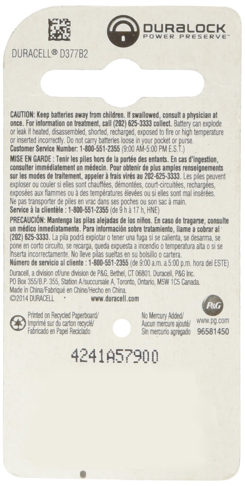 Procter & Gamble 67848 DURA2PK 1.5V 377Battery