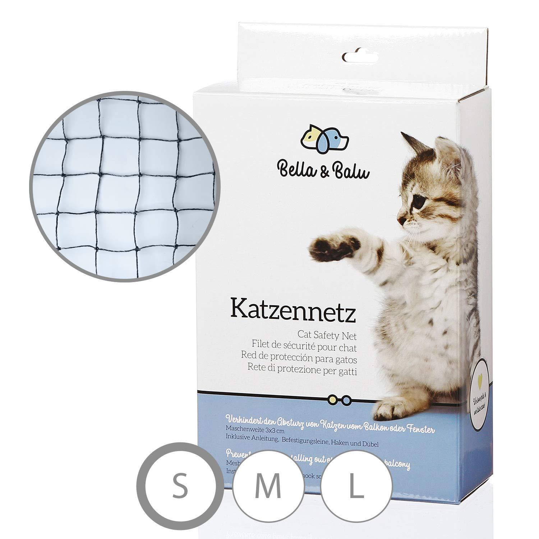 Bella & Balu Katzennetz incluida Gancho, Tacos, y Rundumseil guía de fijación - Transparente Schutznetz para Gatos para la protección de balcón, terraza, ...