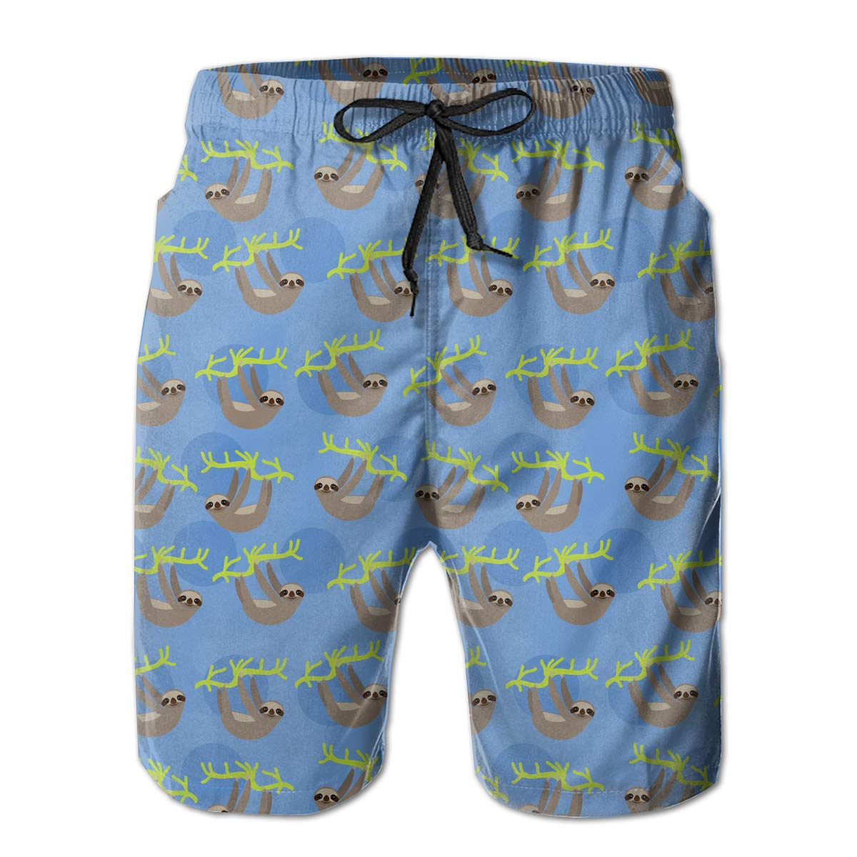 UHT28DG Cute Smiling Sloth Pattern Mens Beach Shorts Lightweight Swimming Shorts