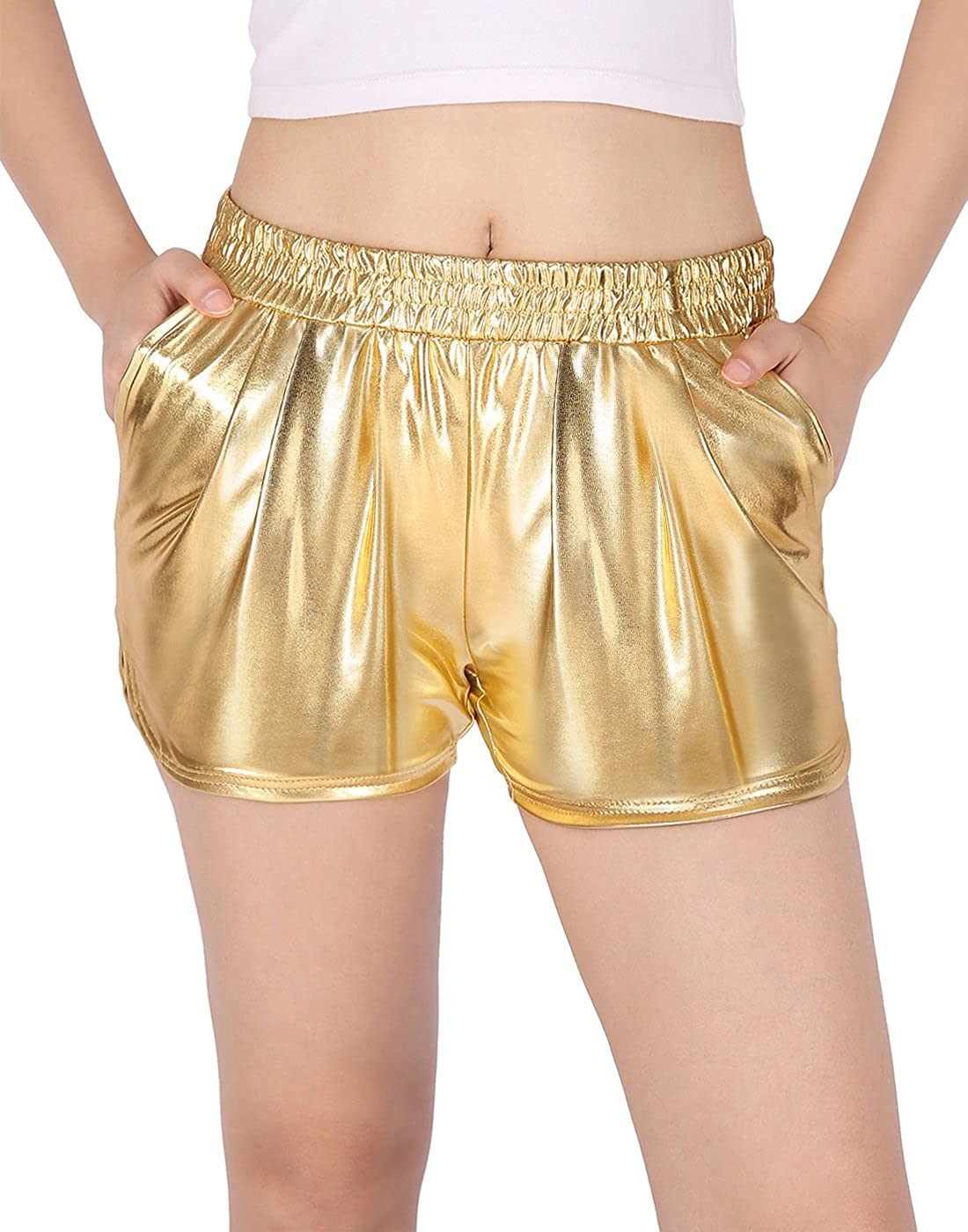 HDE Women's Hot Shorts Loose Shiny Metallic Yoga Pants