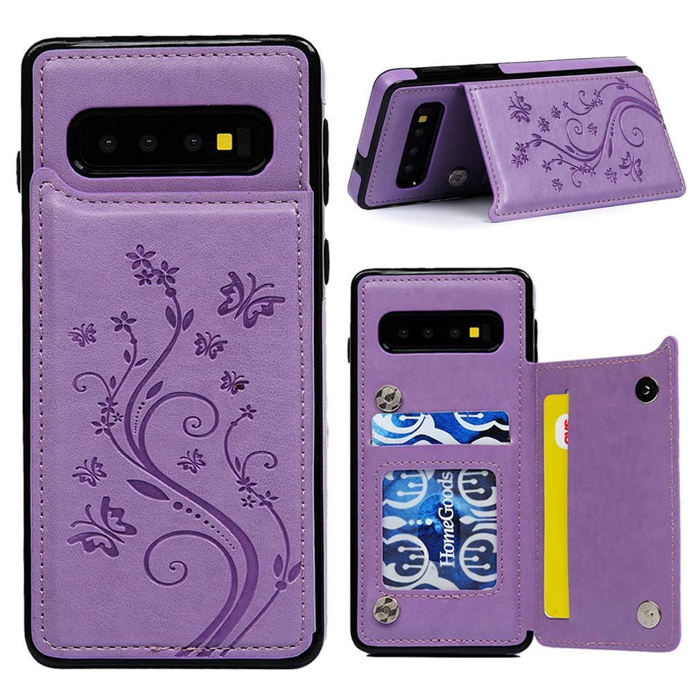 Gepr/ägter Schmetterling Leder Handyh/ülle Klappbares Brieftasche Schutzh/ülle Case mit Integrierten Kartensteckpl/ätzen und Halterungsfunktion Rotgold H/ülle f/ür Samsung Galaxy S10 6.4 Zoll S10 Plus