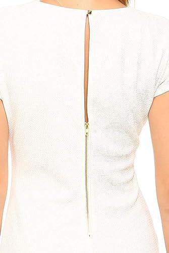d789e9006e Amazon.com  Teeze Me Juniors Cap Sleeve Round Neck Glitter Knit Shirred  Dress White Gold  Clothing