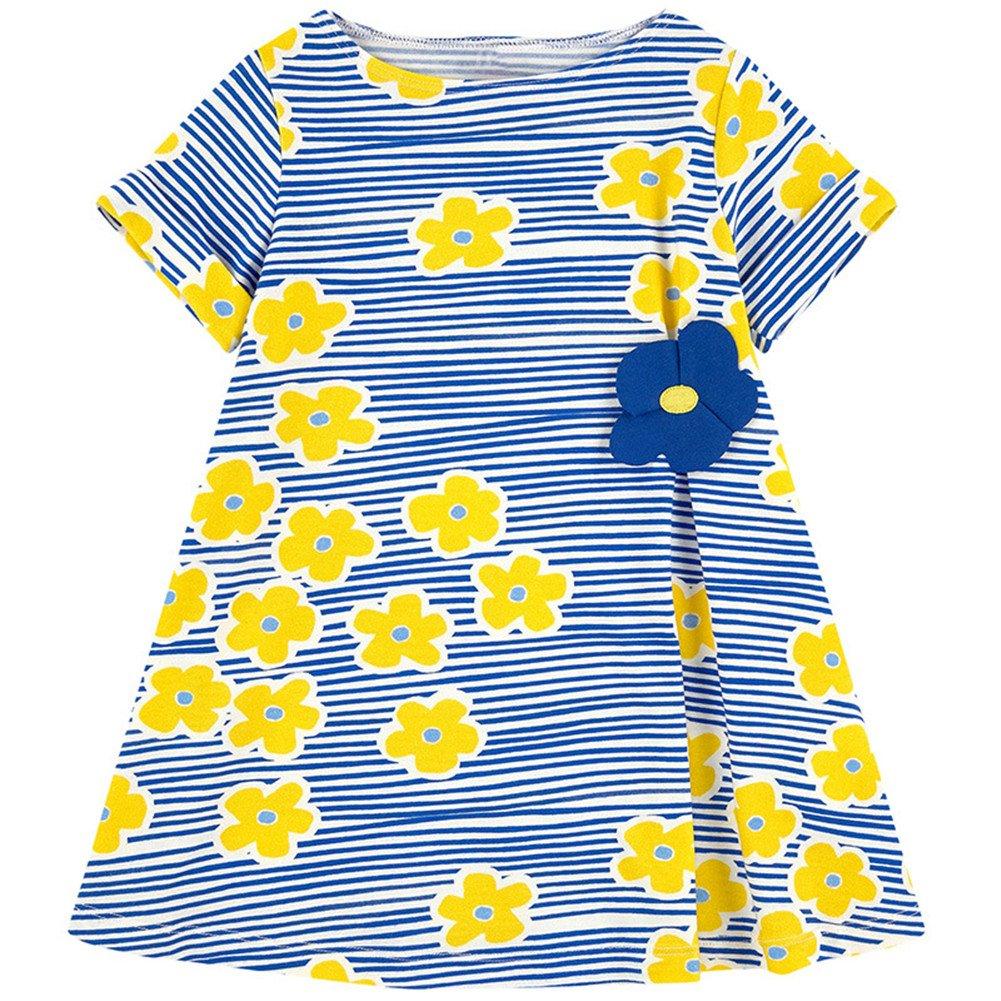 HILEELANG Little Girls Cotton Dress Casual Summer Sundress Flower Printed Jumper Skirt, 5T/(5-6YRS)120cm, 7-smallyellowflower