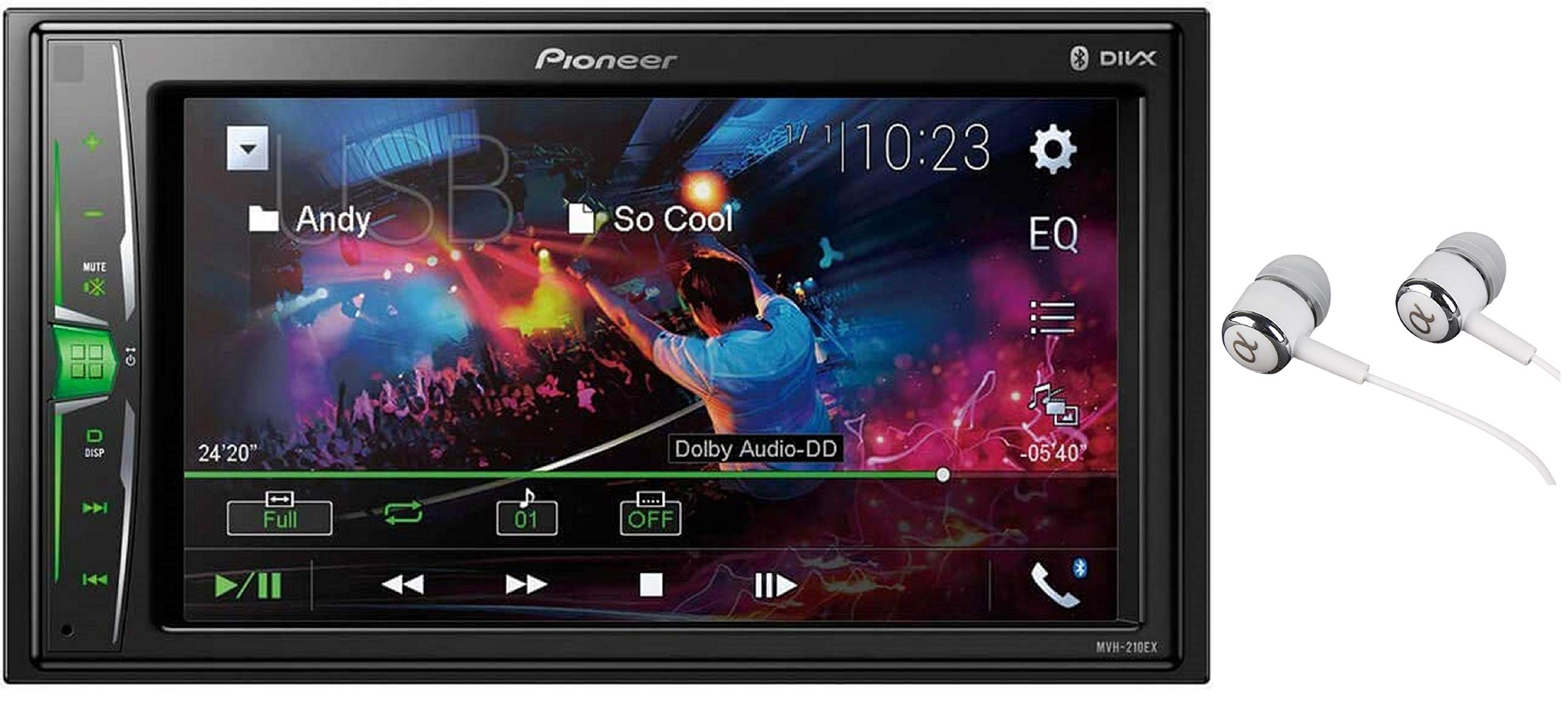 Pioneer MVH-210EX 6 2'' VGA Touchscreen WebLink Double DIN, Bluetooth USB MP3 Aux Input, in-Dash Siri Eyes Free & Google VR, Multi-Color Illumination Digital Media Receiver/Free ALPHASONIK Earbuds by PIONEER