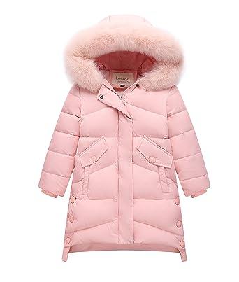 46290b56a Amazon.com  IRELIA Girls Fur Hooded Parka Puffer Down Jacket Coat ...