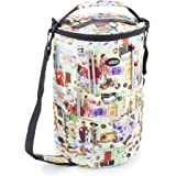 Knitting Bucket Bag, Sewing Accessories And Craft Needle Storage Organiser with Yarn Feeder In Retro Print