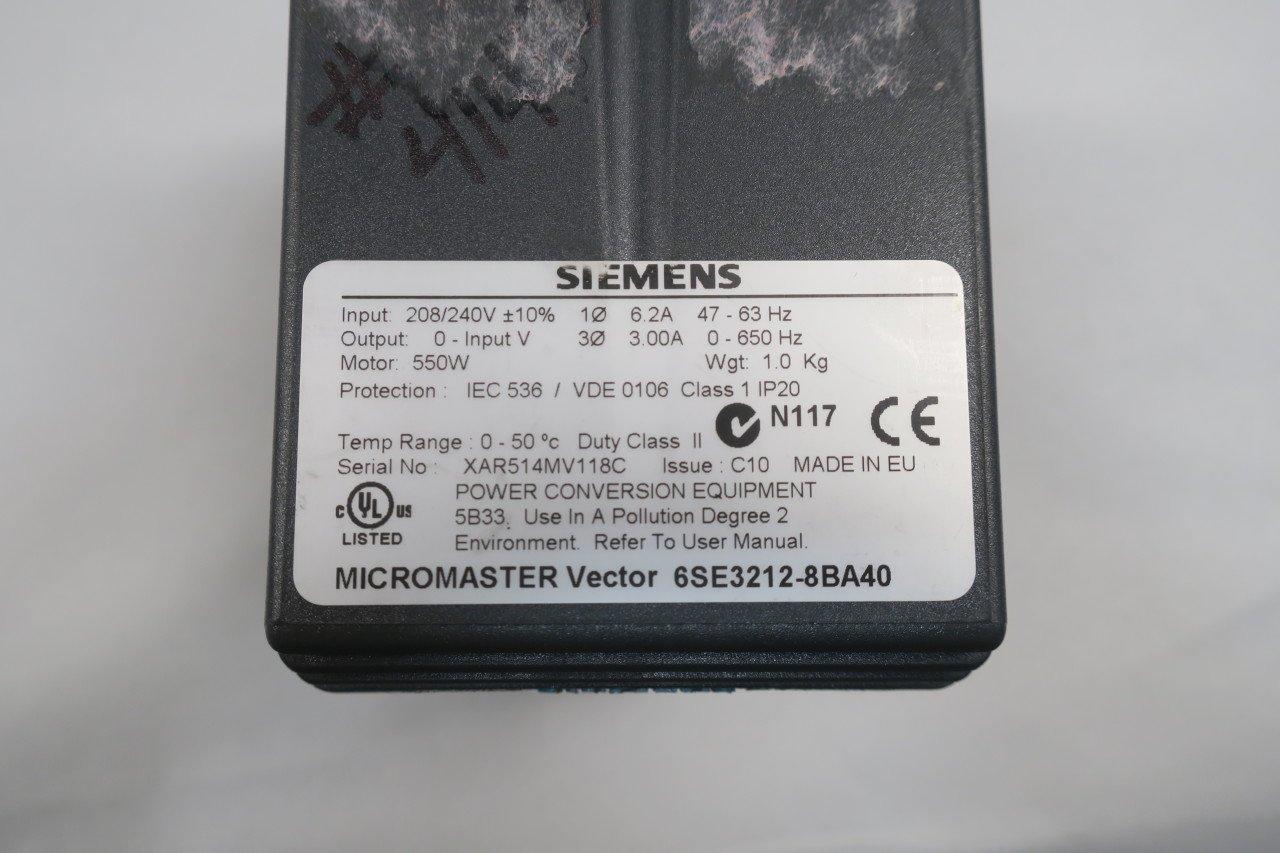 SIEMENS 6SE3212-8BA40 MICROMASTER VECTOR MOTOR DRIVE 0-240V-AC 3A 550W  D584424: Amazon.com: Industrial & Scientific