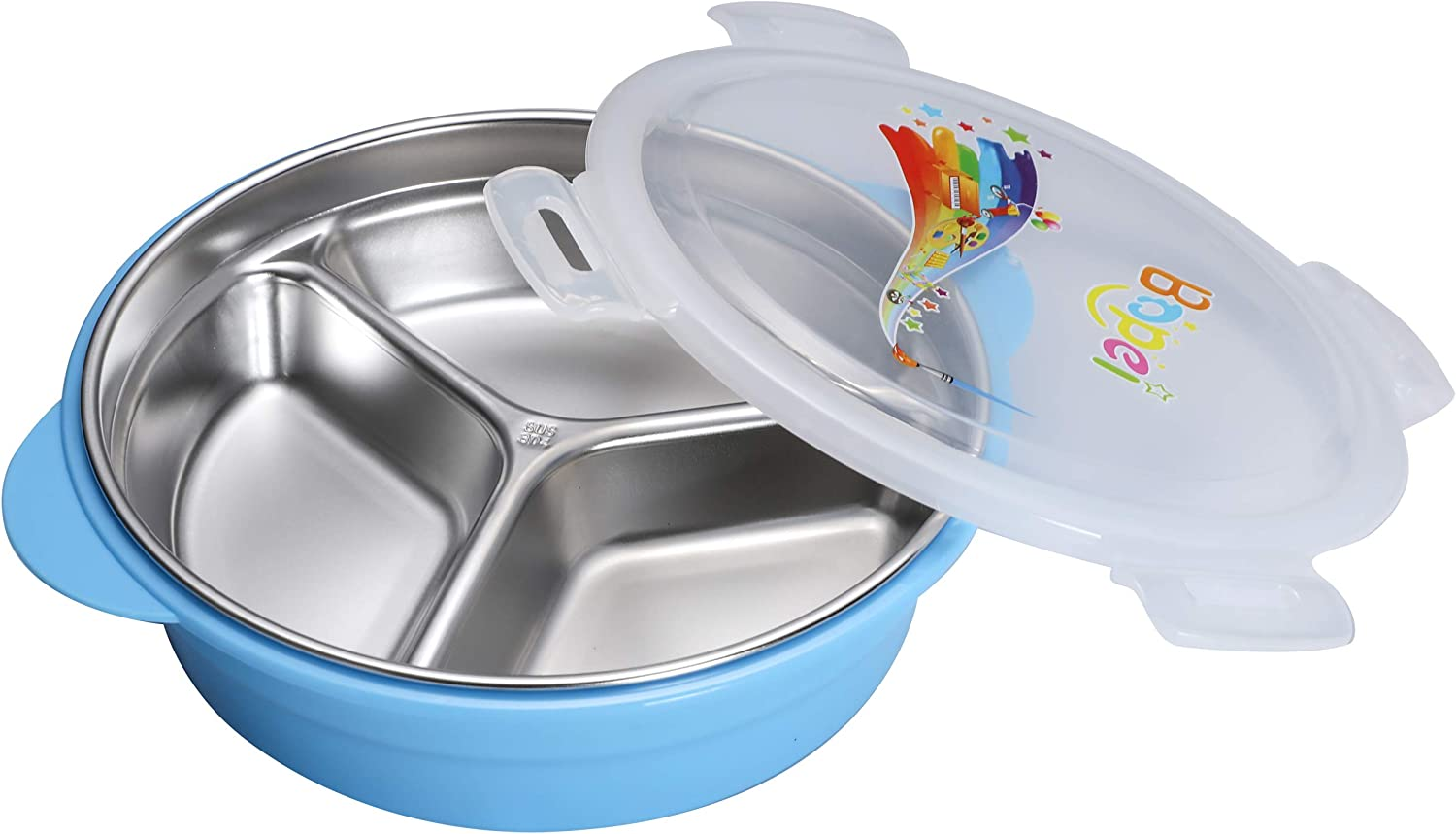 BrightBuy Kid Bento Lunch Box, Detachable Double Layer Toddler Baby Lunch Food Container Storage 304 Stainless Steel, BPA Free with Three Section Design Holds a Well-Balanced Variety of Foods (Blue)