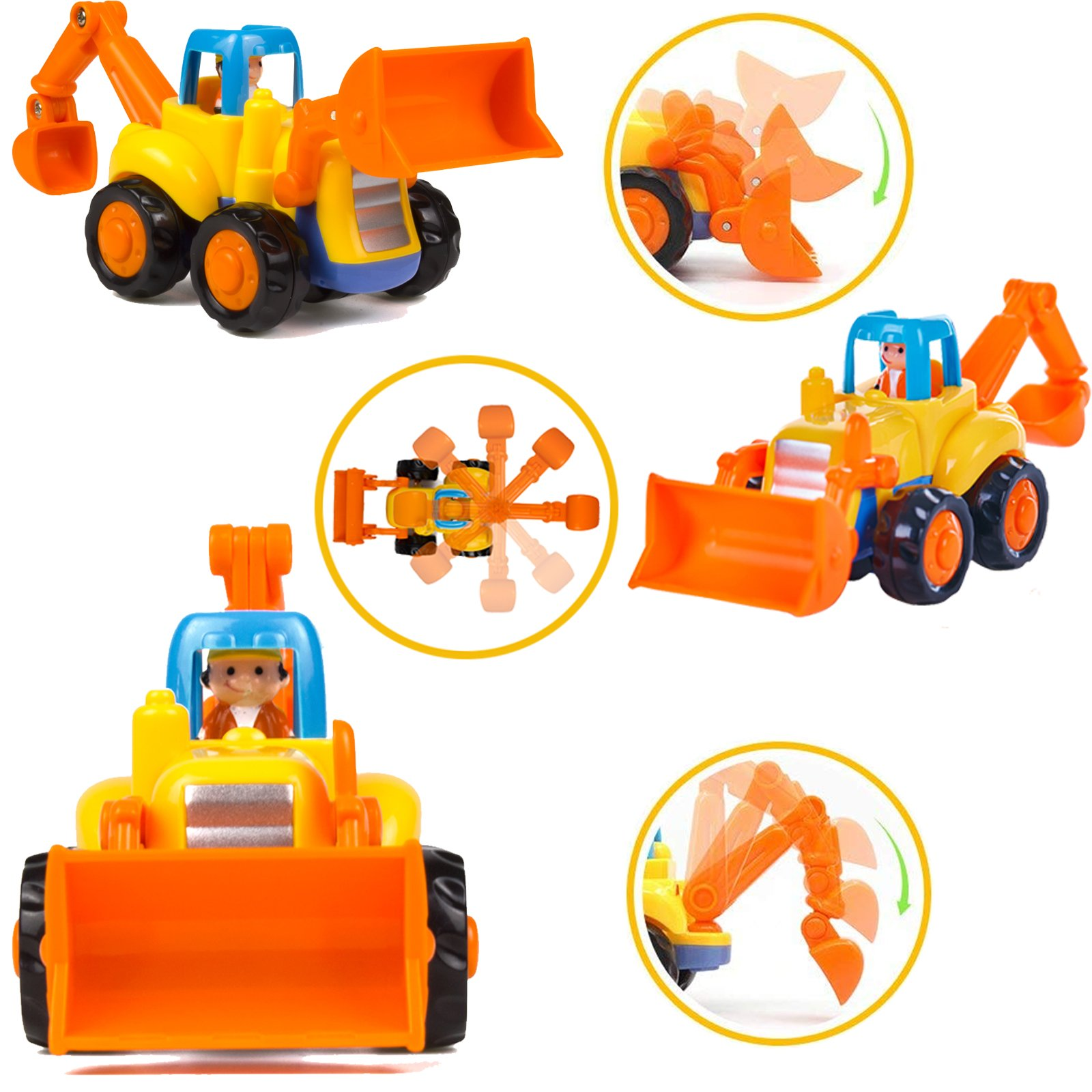 Wolson Push and Go Friction Powered Car Toys Engineering Vehicles Set Tractor Bulldozer Mixer Truck and Dumper for Baby Toddlers by Wolson (Image #4)