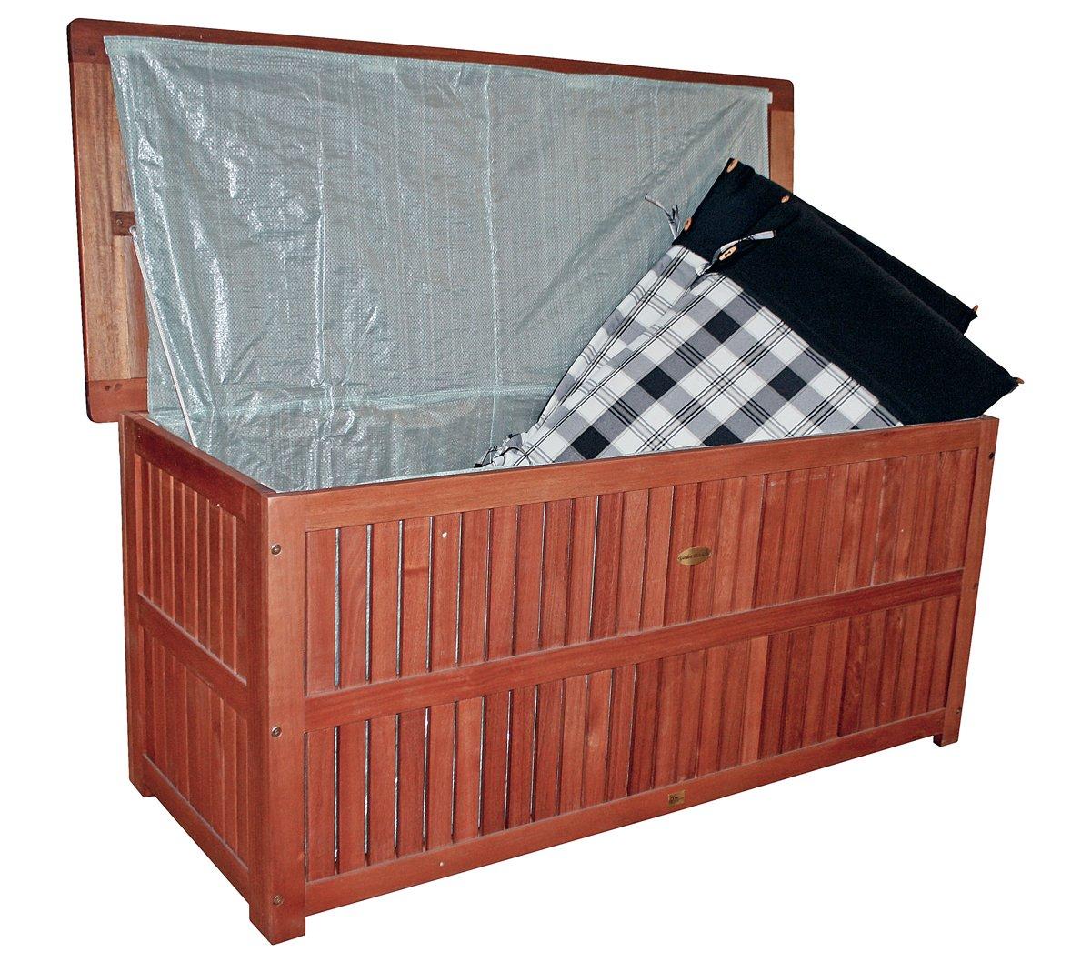 Auflagenbox mit Folieninnentasche aus geöltem Eukalyptus Auflagentruhe Kissenbox Gartenbox Gartentruhe