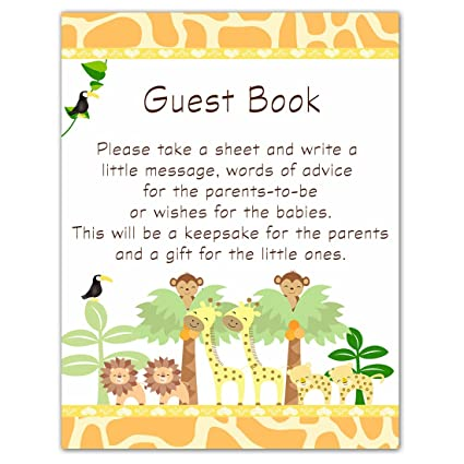 amazon com twins jungle guest book sign baby shower party