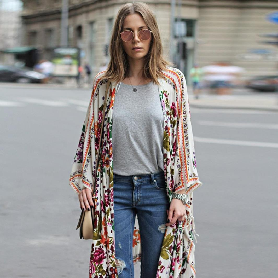 Womens Shawl Cardigan Sheer Chiffon Floral Kimono Cardigan Long Blouse Loose Tops Outwear Cover up Shirt Jinjiums