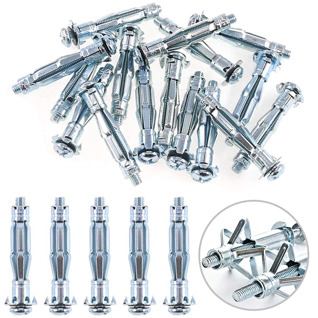 Glarks 30Pcs 6x52MM Heavy Duty Zinc Plated Steel Molly Bolt Hollow Drive Wall Anchor Screws Set for Drywall, Plaster and Tile (M6x52)